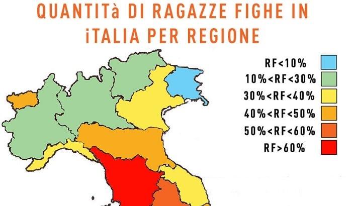 La mappa italiana della quantità di ragazze fighe per regione