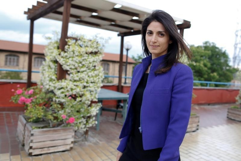 Virginia Raggi, the anti-establishment 5-Star Movement's candidate for Rome's mayor, arrives for an interview with Reuters in Rome, Italy May 19, 2016. REUTERS/Tony Gentile/File Photo